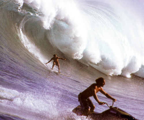 Laird Hamilton and jet ski p.181 The History Of Surfing