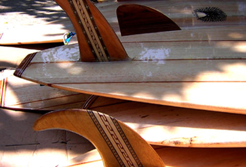 A selection of beautiful Balsawood Surfboards